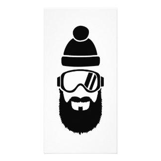 Ski goggles full beard personalized photo card