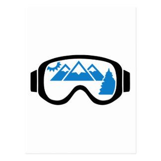 Ski goggles mountains postcard