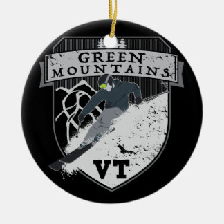 Ski Green Mountains, VT Ceramic Ornament
