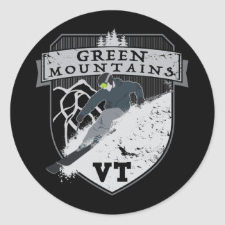 Ski Green Mountains, VT Classic Round Sticker