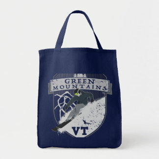 Ski Green Mountains, VT Grocery Tote Bag