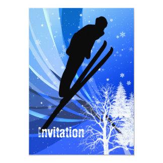 """Ski Jumping in Snow Swirls 5"""" X 7"""" Invitation Card"""