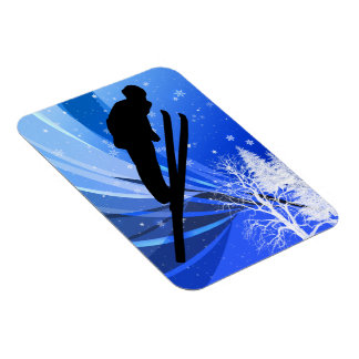 Ski Jumping in the Snow Rectangle Magnets