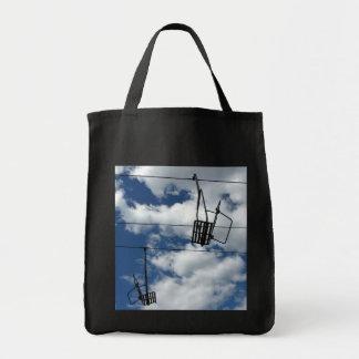 Ski Lift and Sky Grocery Tote Bag