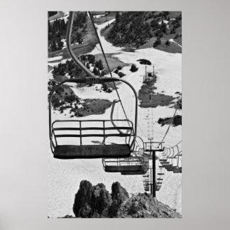 Ski lift chairs at Mammoth Poster