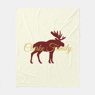 Ski Lodge Moose Plaid Holiday Fleece Blanket