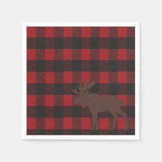 Ski Lodge Moose Plaid Holiday Party Napkins Paper Napkin