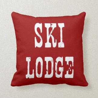 Ski Lodge Red Throw Pillow