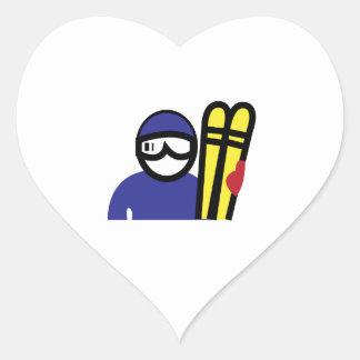 Ski Man Heart Sticker