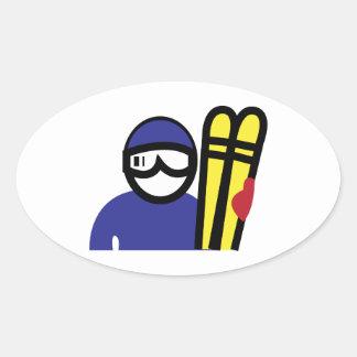 Ski Man Oval Sticker