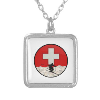 Ski Patrol Silver Plated Necklace