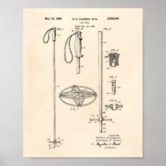 Ski Pole 1966 Patent Art Old Peper Poster