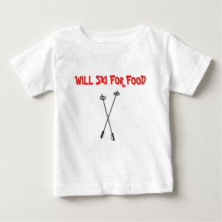 ski poles, WILL SKI FOR FOOD Baby T-Shirt