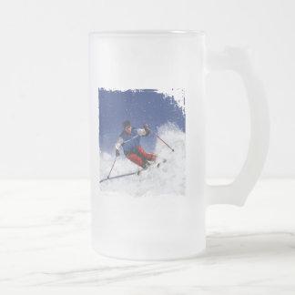 Ski Racing Down the Mountain 16 Oz Frosted Glass Beer Mug