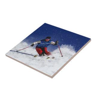 Ski Racing Down the Mountain Tile