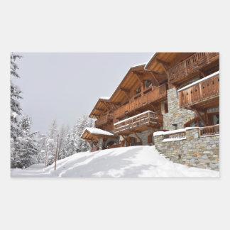 Ski resort chalet rectangular sticker
