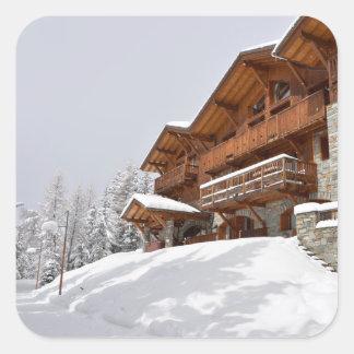 Ski resort chalet square sticker