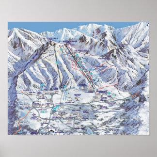Ski resort, Romania, Piana Brasov,  map Poster