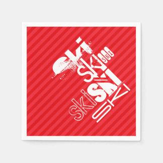 Ski; Scarlet Red Stripes Disposable Serviette