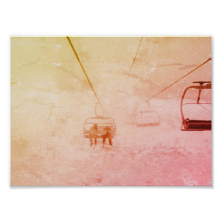 Ski Snowboard Colorful Abstract Poster