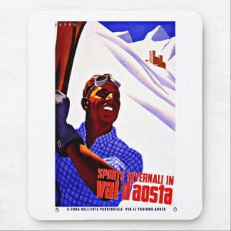 Ski Sports in Aosta Valley Italy Vintage Travel Mousepad