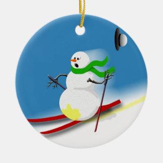 Ski Theme Gift Ideas Holiday Funny Christmas Round Ceramic Decoration