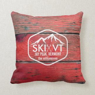 Ski Vermont Jay Peak Rustic Red Barnwood Cushion