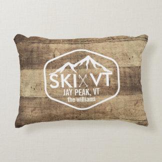 Ski Vermont Rustic Jay Peak Stowe Killington Wood Decorative Cushion