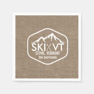 Ski Vermont Stowe Snow Mountain Rustic Burlap Disposable Serviette