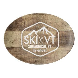 Ski Vermont Sugarbush Stowe Killington Rustic Wood Porcelain Serving Platter