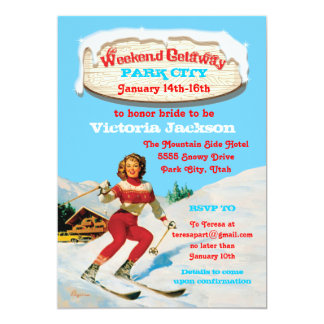 Ski Weekend Getaway with vintage pin up invitation