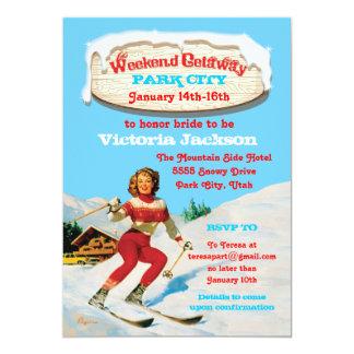 Ski Weekend Getaway with vintage pin up invitation