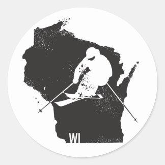 Ski Wisconsin Round Sticker