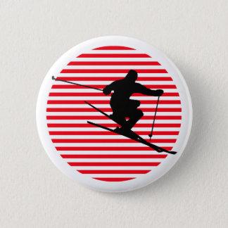 Skier 6 Cm Round Badge