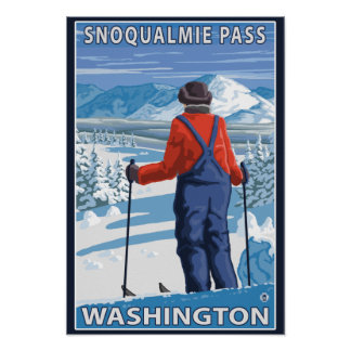 Skier Admiring - Snoqualmie Pass, Washington Poster