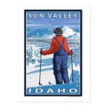 Skier Admiring - Sun Valley, Idaho Postcard