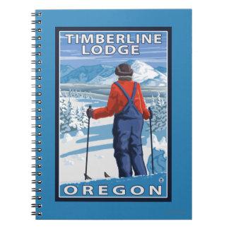 Skier Admiring - Timberline Lodge, Oregon Notebook