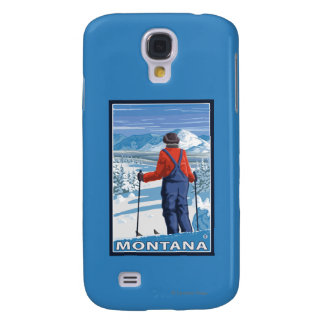Skier AdmiringMontanaVintage Travel Poster Galaxy S4 Covers