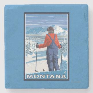 Skier AdmiringMontanaVintage Travel Poster Stone Coaster