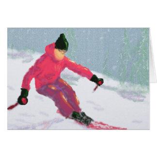 Skier Art Card