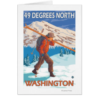 Skier Carrying Snow Skis - 49 Degrees North, Card