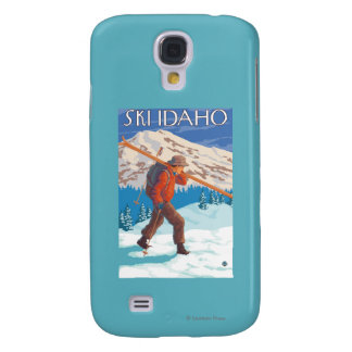 Skier Carrying Snow Skis - Idaho Samsung Galaxy S4 Covers