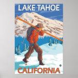 Skier Carrying Snow Skis - Lake Tahoe, Californi Poster