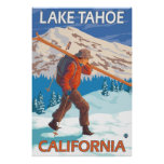 Skier Carrying Snow Skis - Lake Tahoe, California Poster