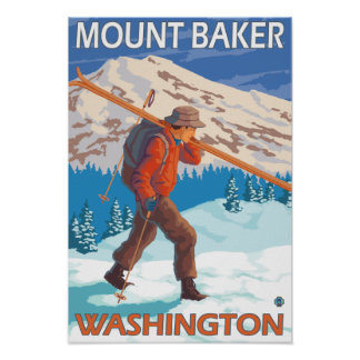 Skier Carrying Snow Skis - Mount Baker, WA Poster