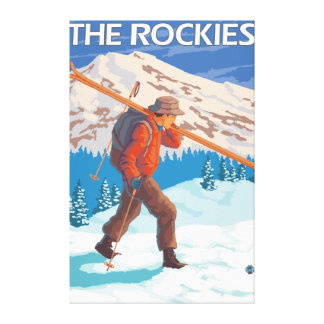 Skier Carrying Snow Skis - The Rockies Canvas Prints