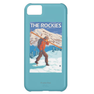 Skier Carrying Snow Skis - The Rockies iPhone 5C Case