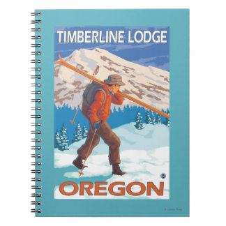 Skier Carrying Snow Skis - Timberline Lodge, OR Notebooks