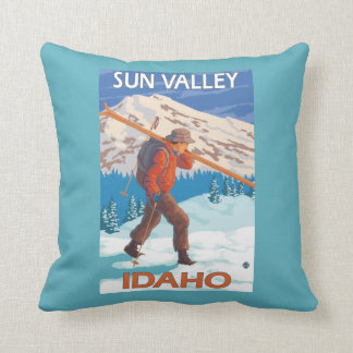 Skier Carrying Snow Skis- Vintage Travel 2 Cushion