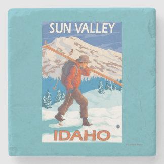 Skier Carrying Snow Skis- Vintage Travel 2 Stone Coaster